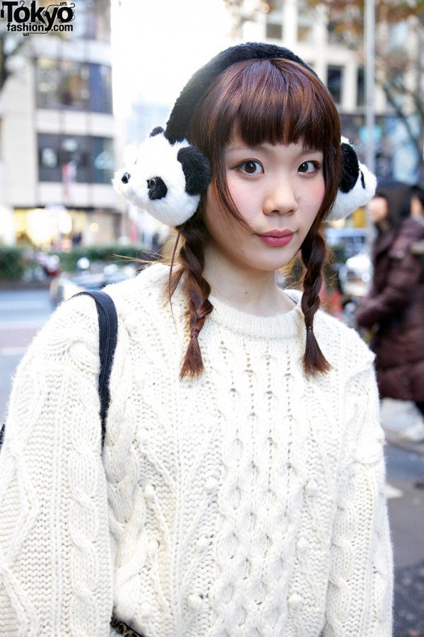 Braided hair & panda earmuffs from Spinns
