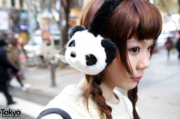 Panda ear muffs from Spinns in Harajuku