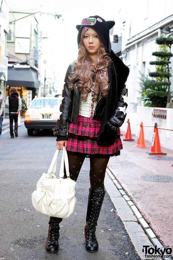 Girl's Long Curls, Plush Animal Hat, tutuHA Leather Jacket & Takenoko Bustier