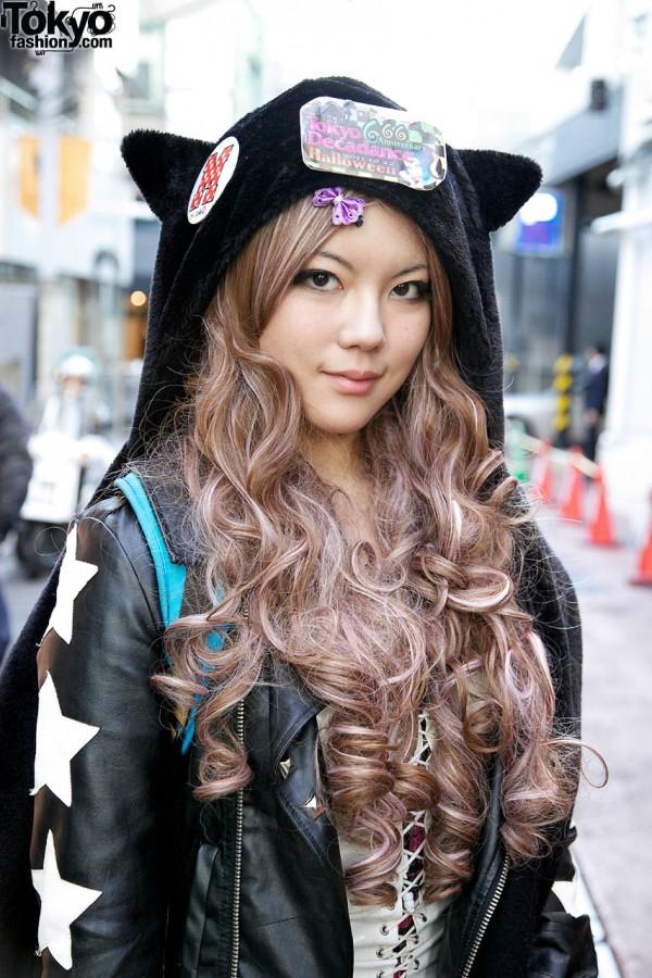 Long girls & plush animal hat in Harajuku