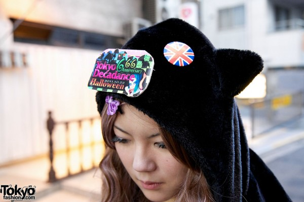Plush animal hat & Tokyo Decadance button in Harajuku
