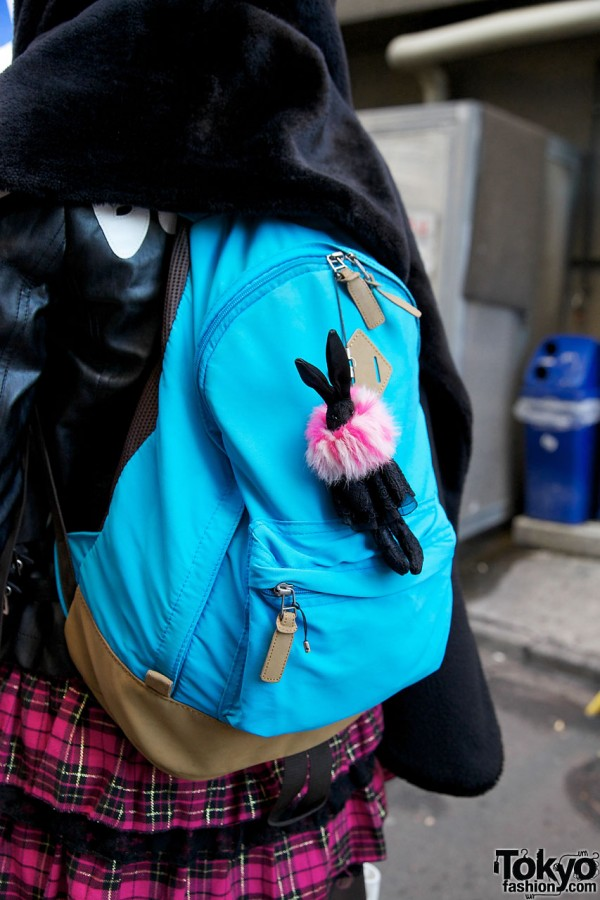 Backpack with toy bunny in Harajuku
