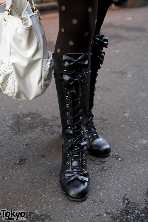 Body Line laceup boots with bows in Harajuku