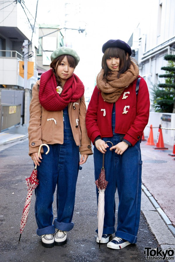 Look-Alike Overalls, Toggle Coats & Cowl Scarves in Harajuku