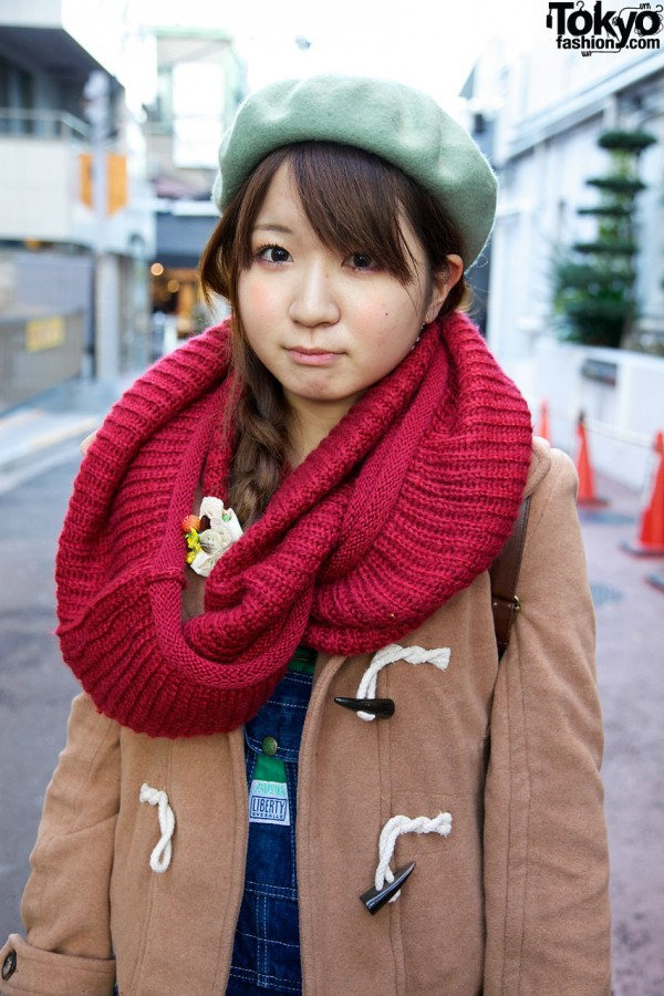 Toggle coat from Crisp & cowl scarf in Harajuku