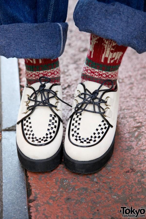 White and black platform shoes & alpine socks in Harajuku