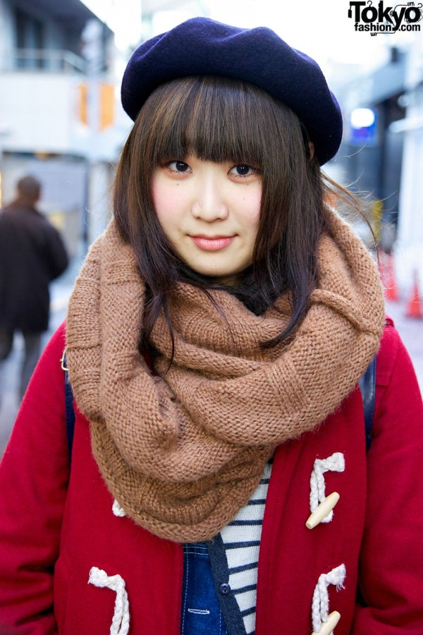 Red toggle coat from Mysty Woman in Harajuku