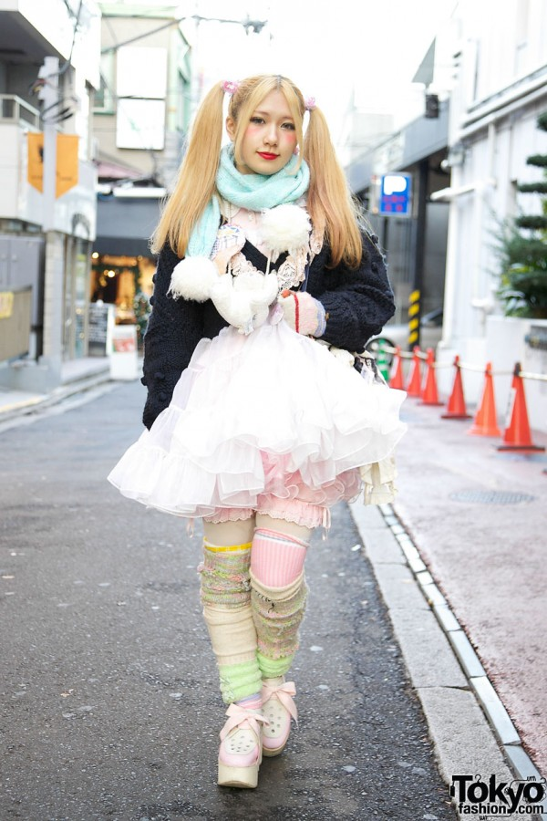 Tokyo Bopper Minami in Knit Top, Tulle Skirt, Pink Bloomers & Pink-bow Platforms