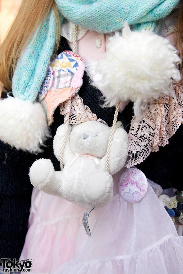 Swinging Teddy Bear Necklace in Harajuku