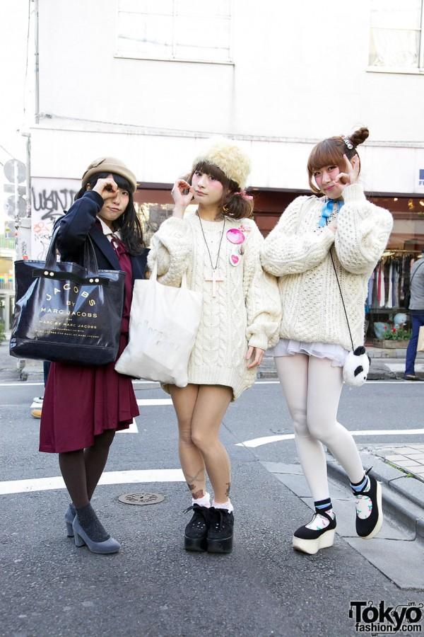 Rii & Maho (+ Riho) Wearing White Cable Knit Sweaters in Harajuku