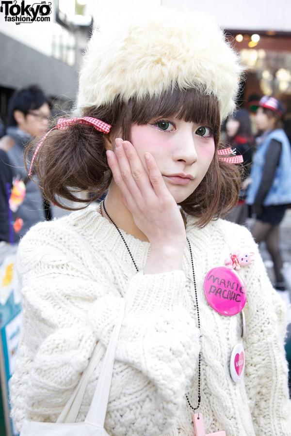 Rii in White Knit Sweater Dress in Harajuku