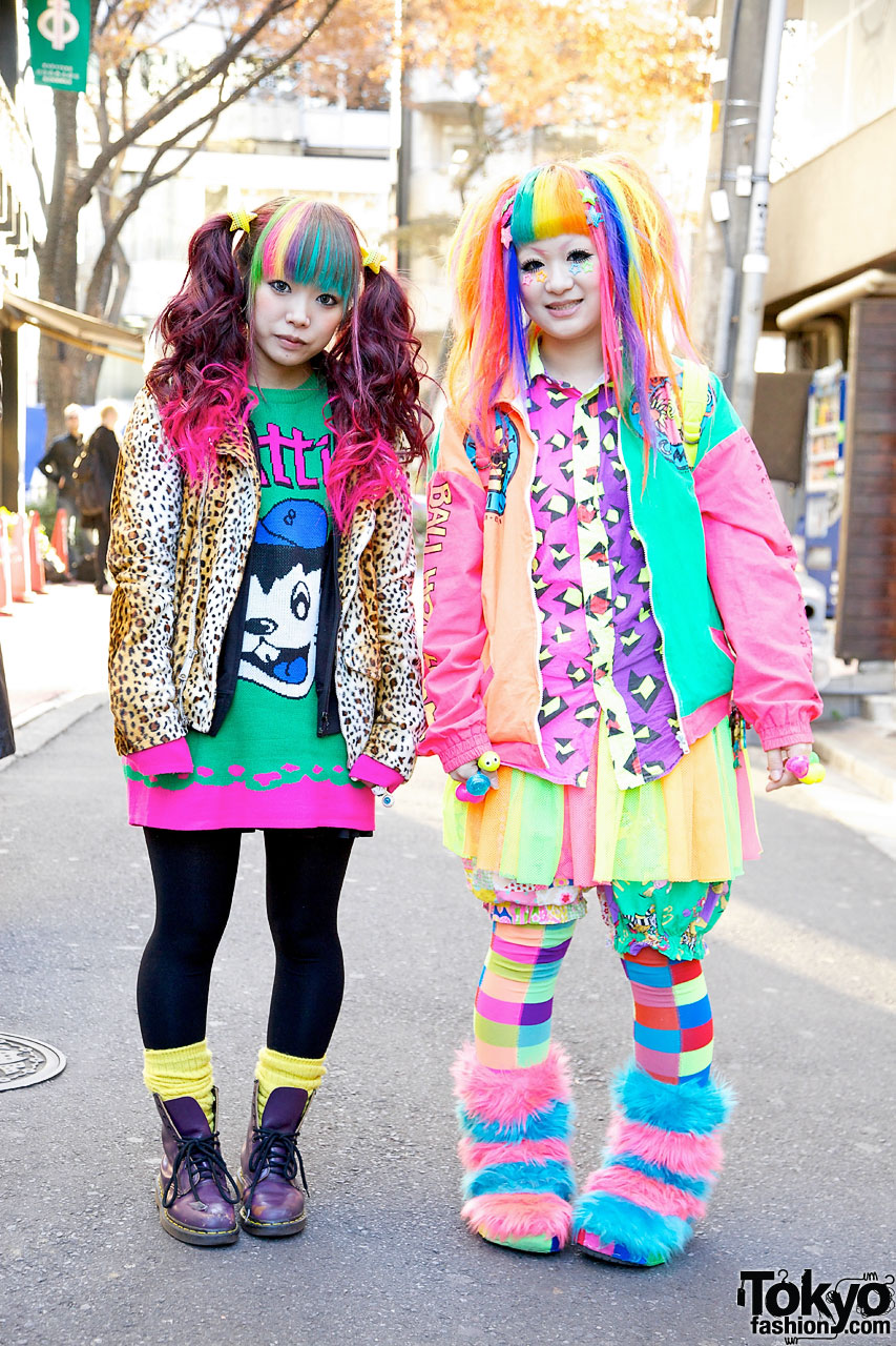 Bright Rainbow Colored Harajuku Decora Girls Maimai Marina