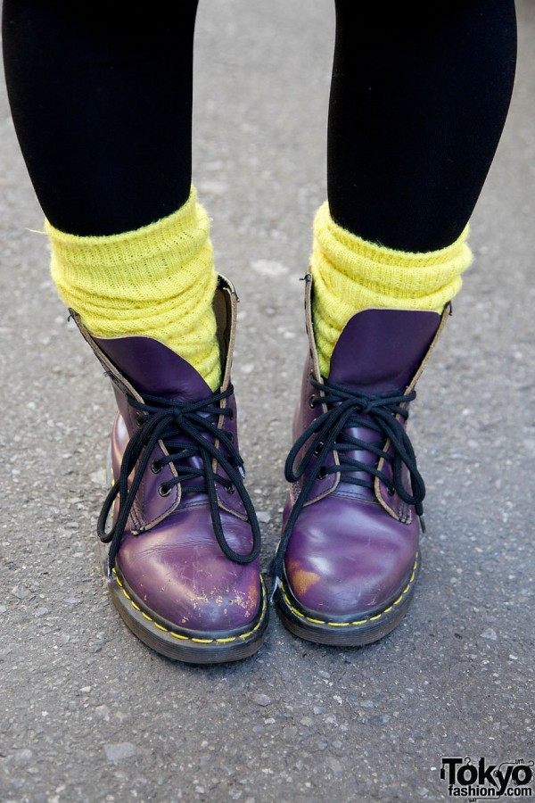 Purple Dr. Martens in Harajuku