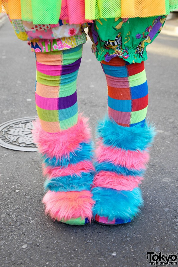 Handmade Pink & Blue Furry Boots in Harajuku