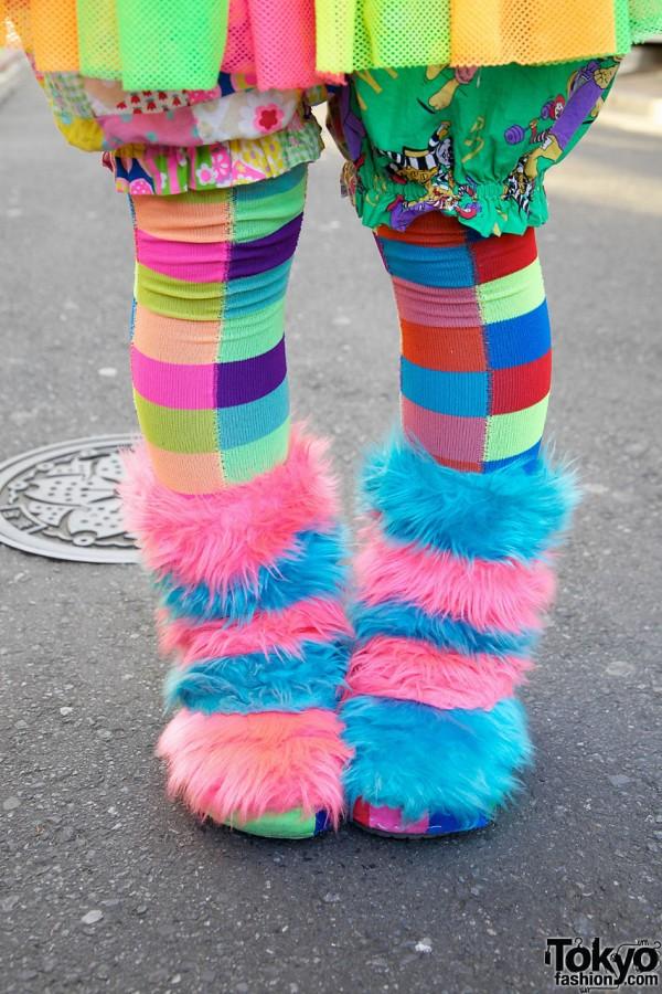 Handmade Pink & Blue Furry Boots in Harajuku