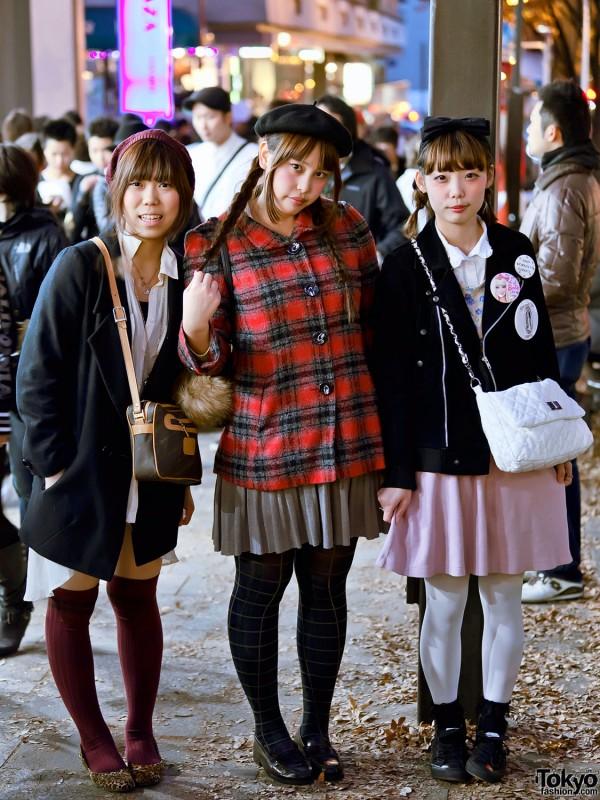 "Three Cute Harajuku Girls, One With ""God Forgives. I Don't!"" Button"