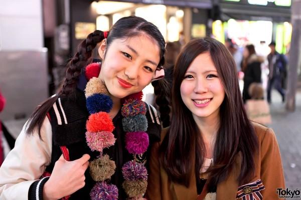 Pom Pom Scarf & Braids in Shibuya