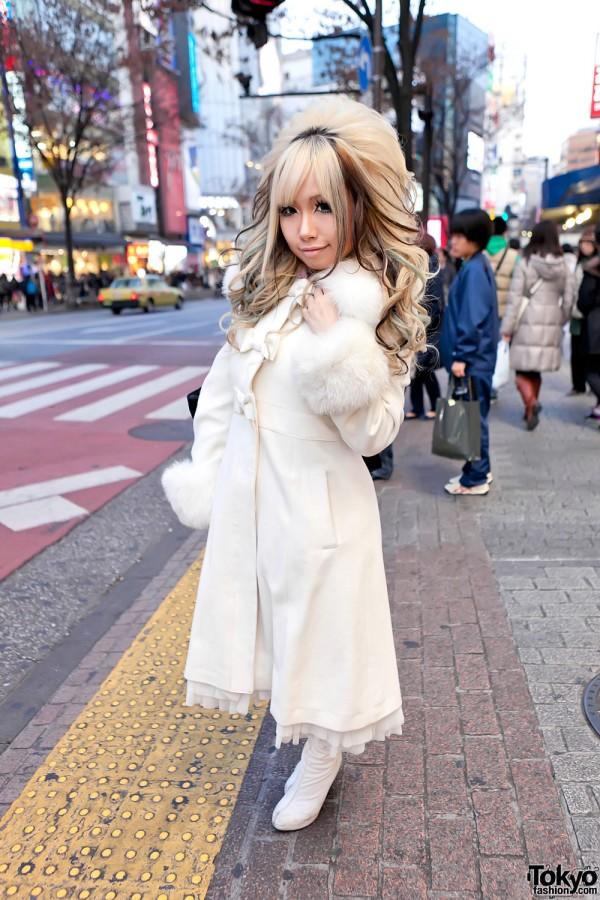 Shibuya Gyaru in Long White Coat