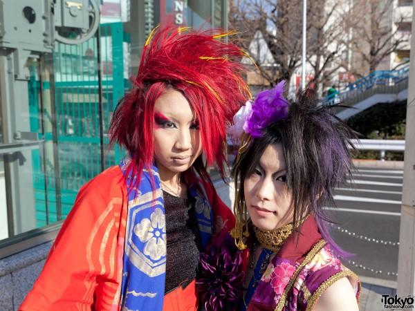 Red Orange & Purple Hairstyles in Harajuku