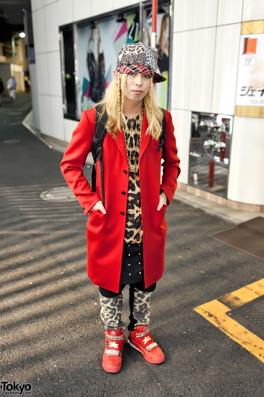 Harajuku Guy in Red Jacket & Leopard Print