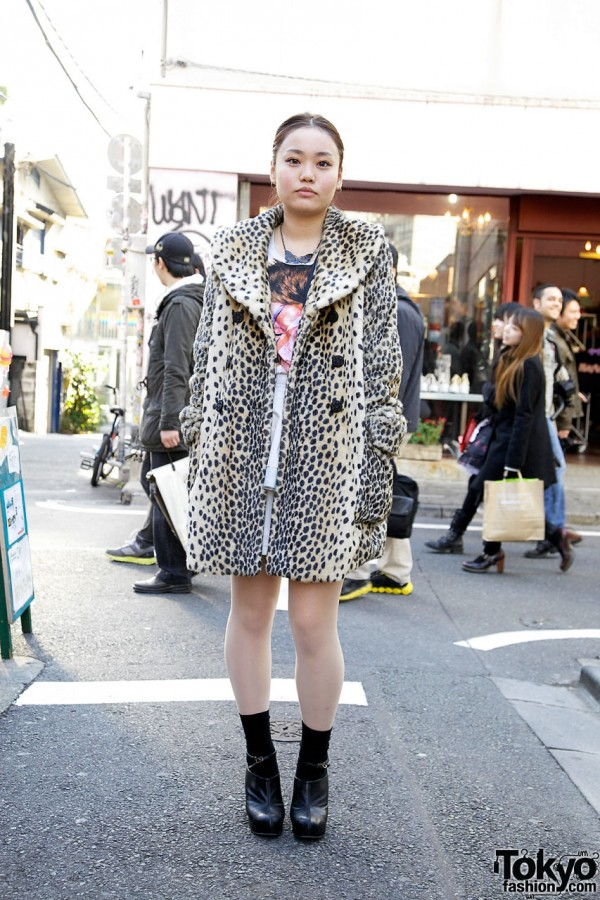 Faux Fur Coat & David Bowie Top from Zara in Harajuku
