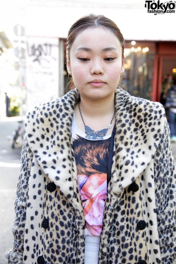 Fur coat & Zara top in Harajuku