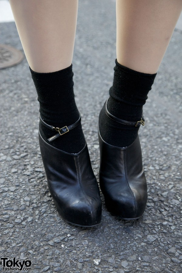Black mules with ankle straps & black socks