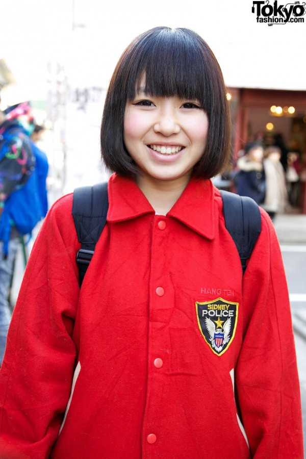 Red Resale Stadium Jacket in Harajuku