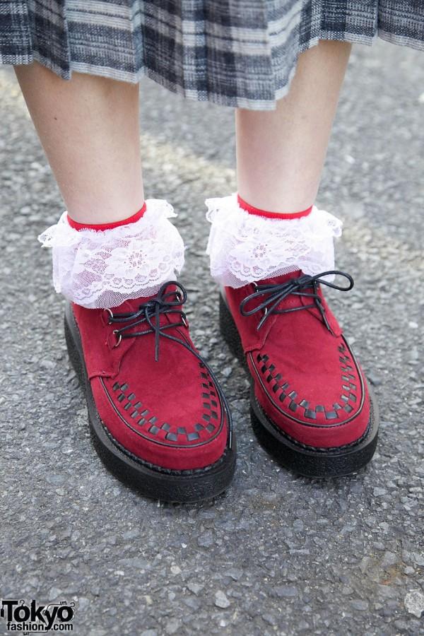 Ruffle Socks & Red Creepers
