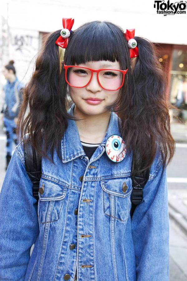 Cute Eyeball Hair Bows & Glasses in Harajuku