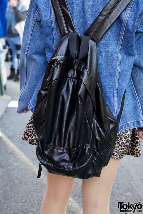 Denim Jacket & Black Backpack in Harajuku