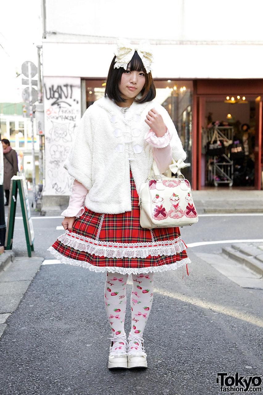 Harajuku Lolita in Red Tartan Baby The Stars Shine Bright JSK