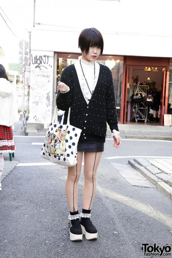 Kinji cardigan w/ H&M miniskirt in Harajuku