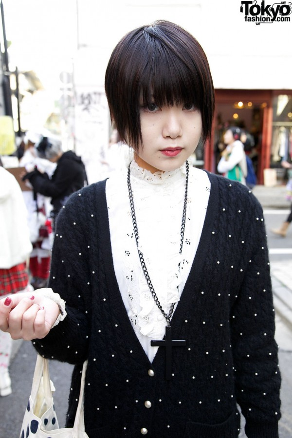 Lace-trimmed blouse & cable cardigan in Harajuku