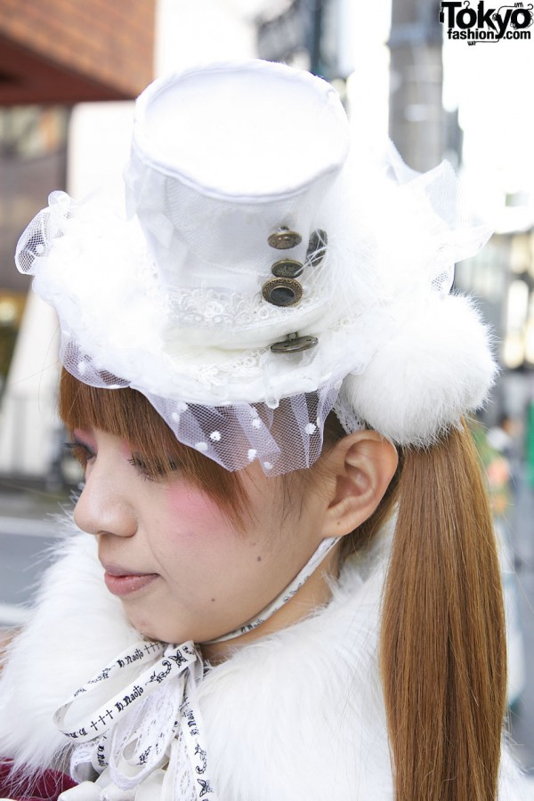 Gramm mini hat trimmed with button, net & fur in Harajuku