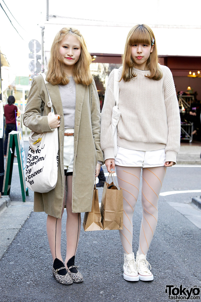 Girls in American Apparel shorts in Harajuku