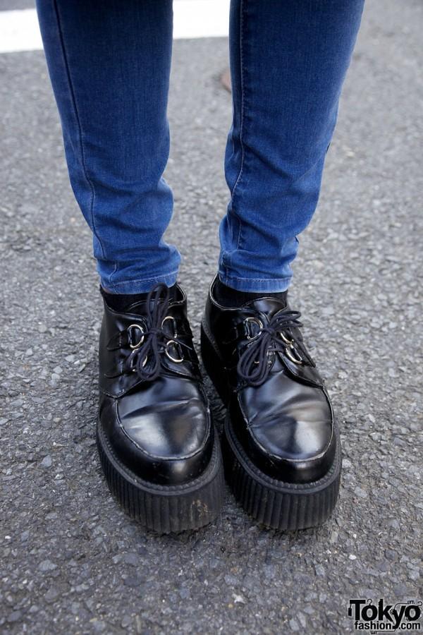 Skinny Jeans & Platform Creeper Boots