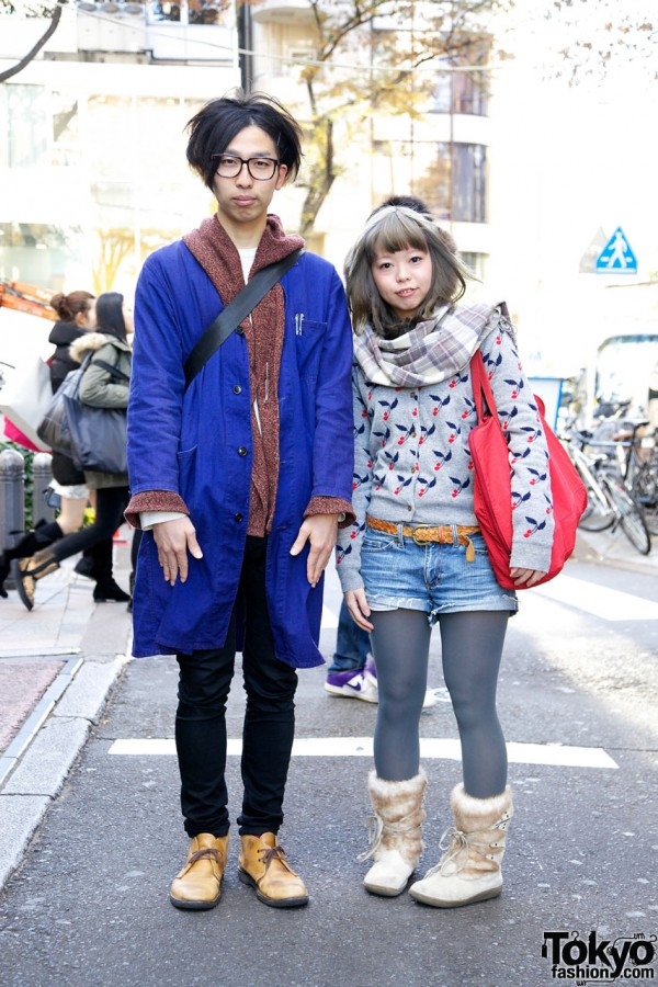 Harajuku Couple's Lab Coat, Cherry Sweater & Fur Boots