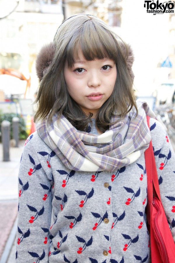 Cherry print sweater & plaid scarf in Harajuku