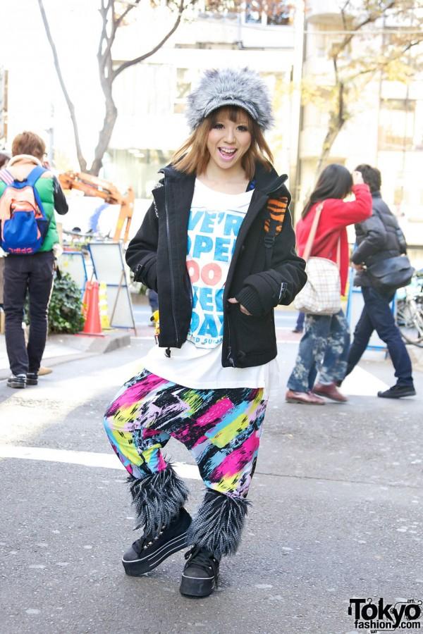 Cocolulu Model Mio w/ Furry Hat & Platform Sneakers in Harajuku