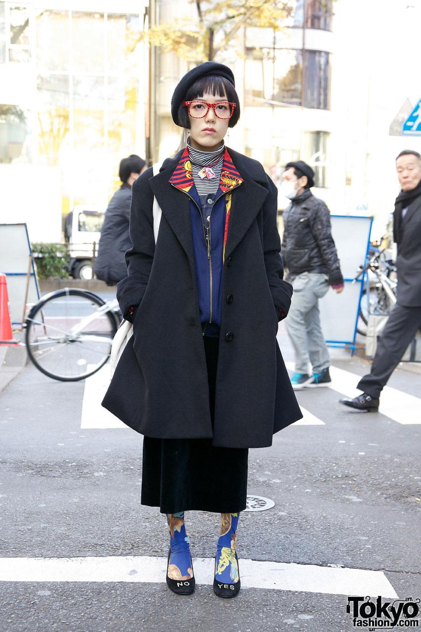 Black Beret & Comme Ca Ism Coat in Harajuku
