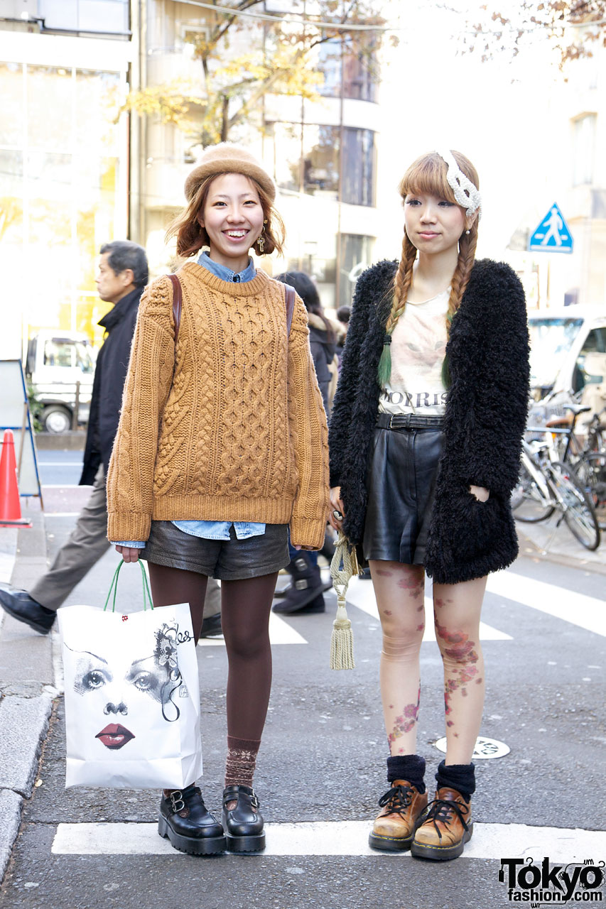 Harajuku girls in leather shorts, tights & Dr. Martens shoes