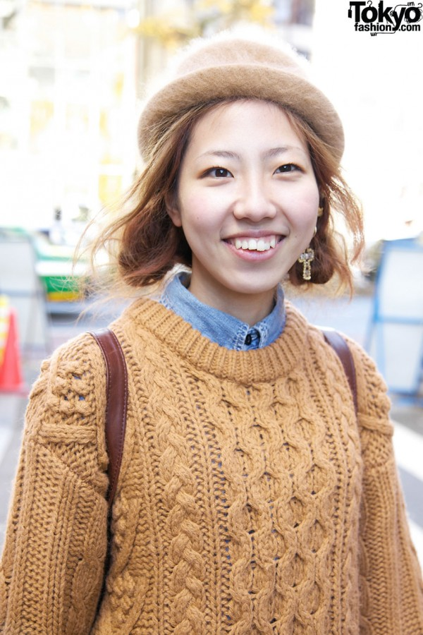 Cable sweater & hat in Harajuku