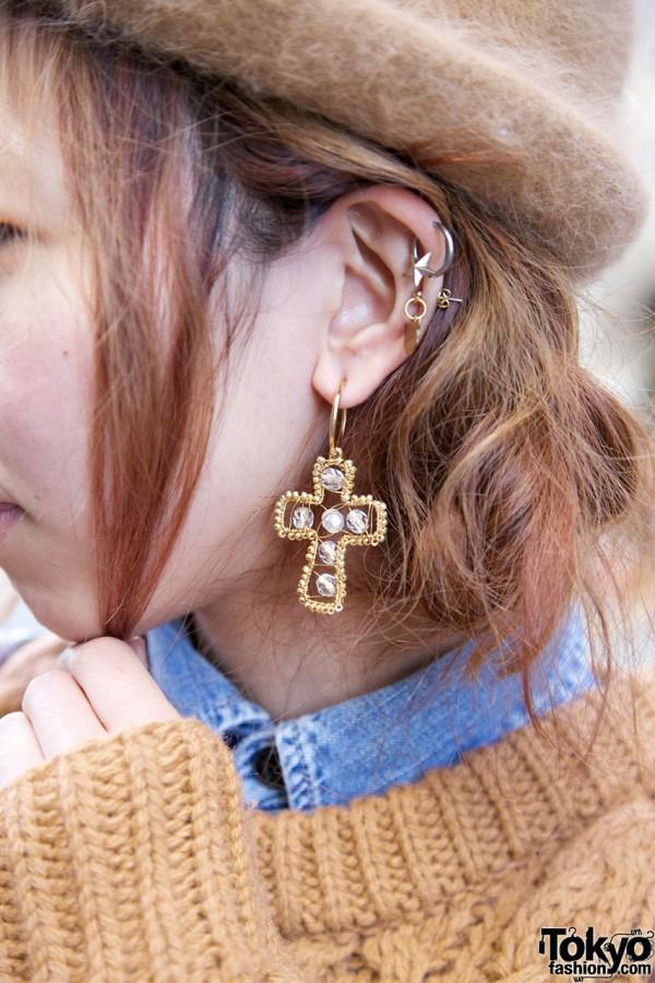 Jewelled cross earring in Harajuku