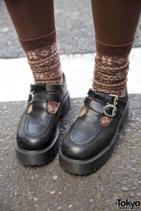 Brown tights & socks with Dr. Martens shoes