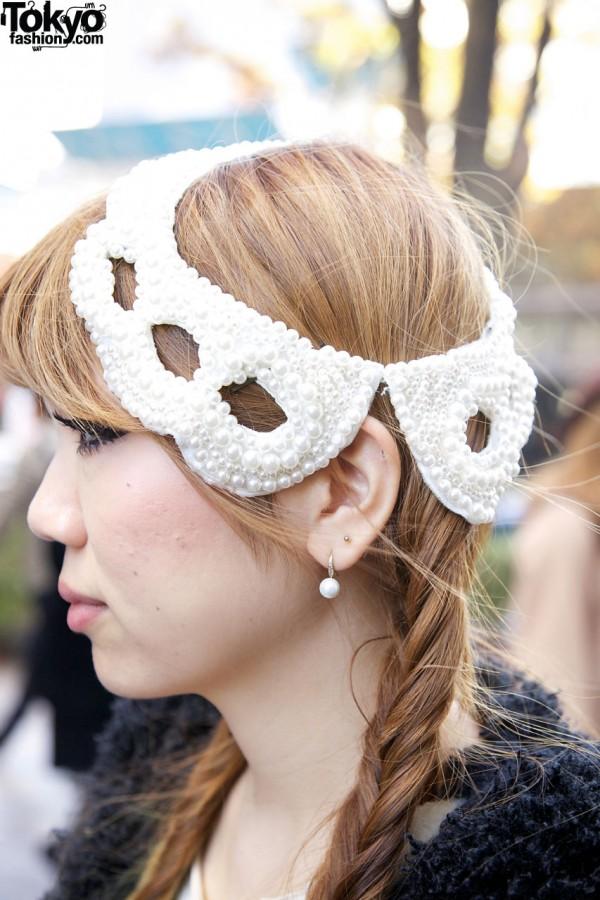 Pearl festooned headpiece in Harajuku