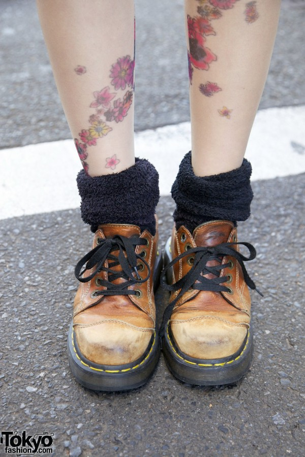 Flowered tights, fuzzy socks & Dr. Martens shoes in Harajuku