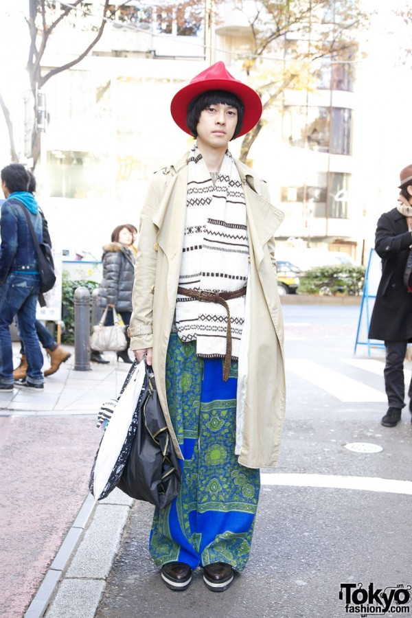 Harajuku Guy's Red Hat & Comme des Garcons Homme Trench Coat