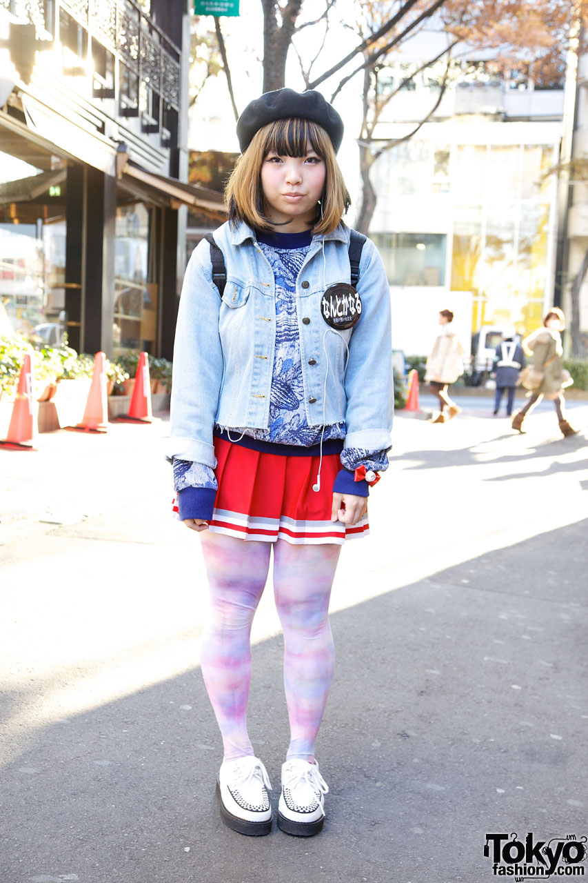 Harajuku Girl W Eyeball Bow Cheerleader Skirt Amp Creepers