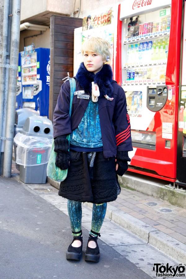 Blonde Harajuku Girl's Monikoto Top & Macaronic Cable Knit Skirt